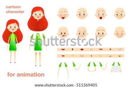 Schoolgirl. Character design for animation. Parts of body template elements. Kids face with emotions. Girl cartoon animated vector illustration. Isolated on white background. Set of mouth, hands.