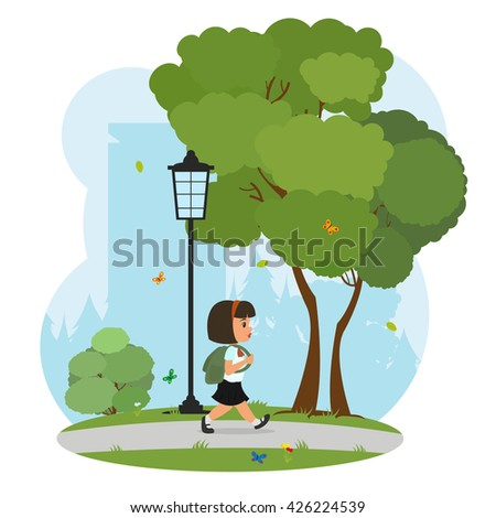 Schoolgirl with backpack goes to school through the park. - stock vector