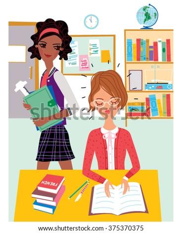 Schoolgirls in a class at school. Vector illustration - stock vector