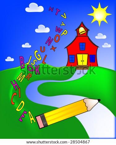 Schoolhouse  Vector. - stock vector