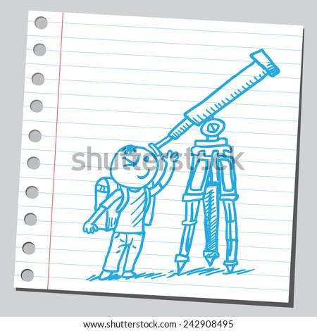 Schoolkid looking through telescope - stock vector