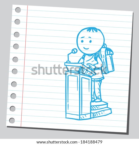 Schoolkid on speech podium - stock vector