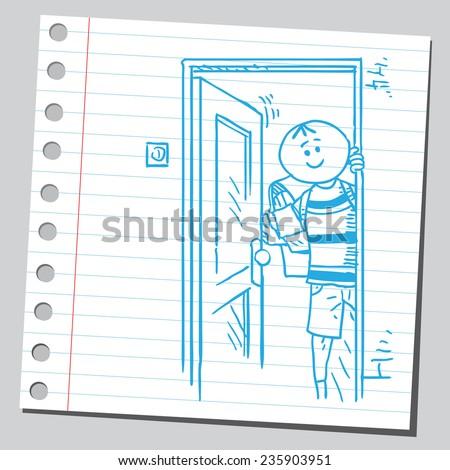 Schoolkid opening door - stock vector
