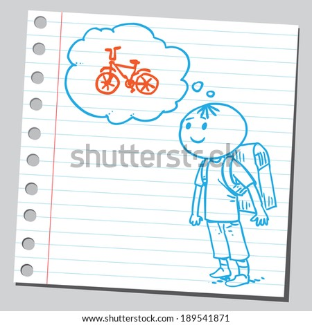 Schoolkid think about bike - stock vector