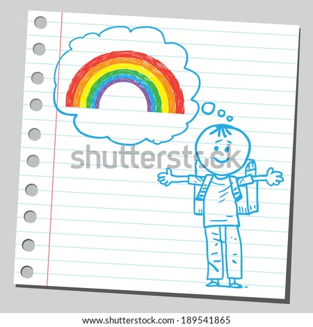 Schoolkid think about rainbow - stock vector