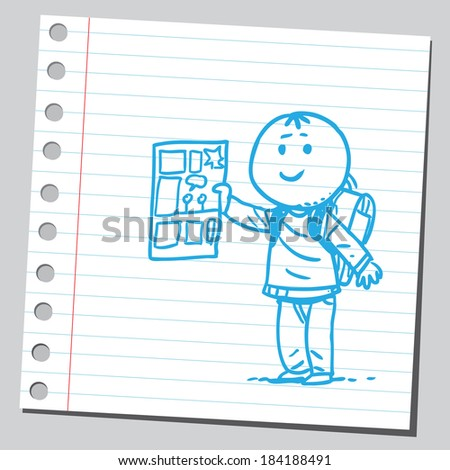 Schoolkid with comic book - stock vector