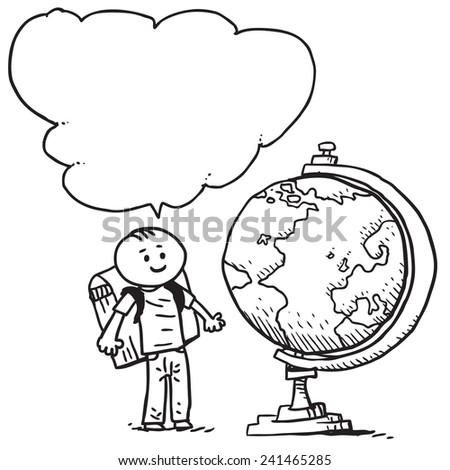 Schoolkid with globe speaking - stock vector
