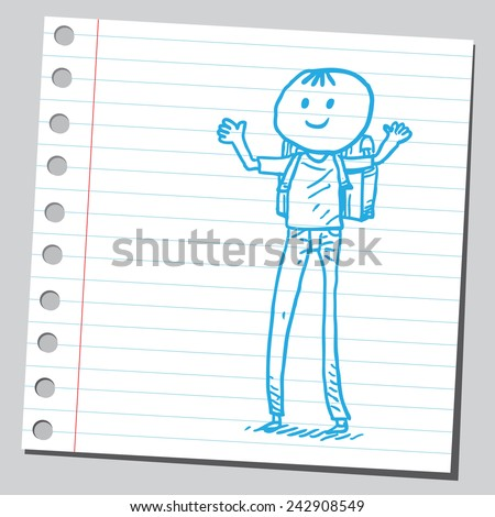 Schoolkid with long legs - stock vector