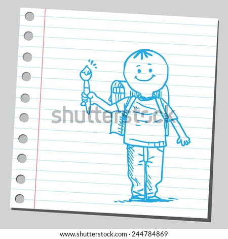 Schoolkid with paintbrush  - stock vector