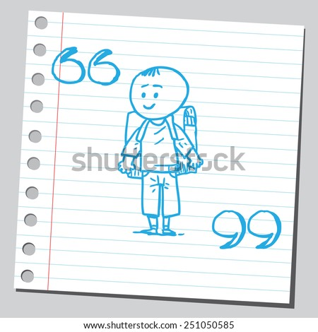 Schoolkid with speech marks  - stock vector