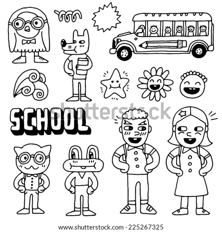 Schoolkids and animals doodle set. Hand drawn. Vector illustration. - stock vector