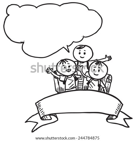 Schoolkids with ribbon speaking - stock vector