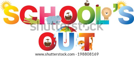 schools out and no matter what the weather, fun will be had, - stock vector