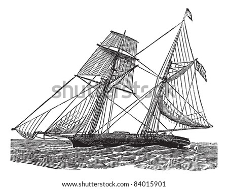 Schooner, vintage engraved illustration. Schooner sailboat at sea. Trousset encyclopedia (1886 - 1891). - stock vector