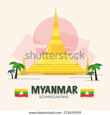 Schwedakong landmark of Myanmar. ASEAN SET - VECTOR ILLUSTRATION - stock vector