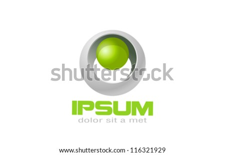 Sci-fi ecology logo template. Biotechnology sphere. Vector. Editable. - stock vector