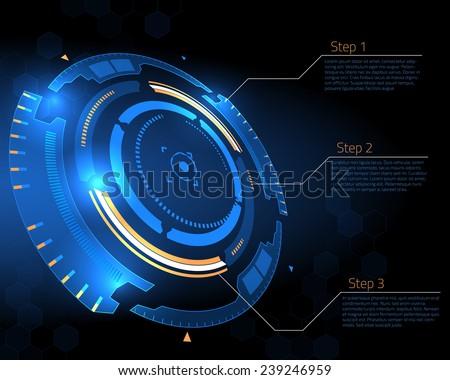 Sci-fi futuristic user interface. Vector illustration. - stock vector