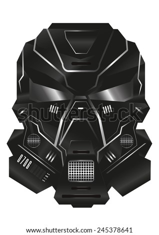 sci-fi military helmet vector - stock vector
