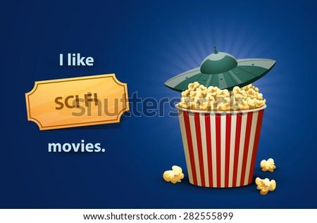 Sci Fi movies, vector - stock vector