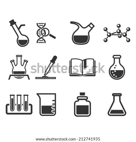 Science and chemistry icon set. - stock vector