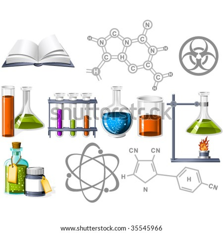 Science and Chemistry Icons - stock vector