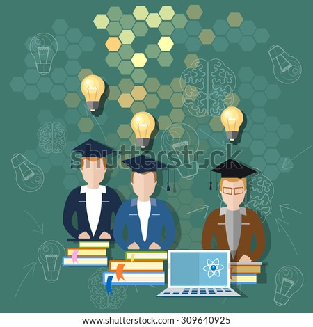 Science and education online education school board teacher classroom international students study university college lectures teacher books vector illustration - stock vector