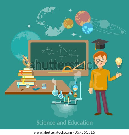 Science and education student at the blackboard studying astronomy chemistry physics mathematics - stock vector