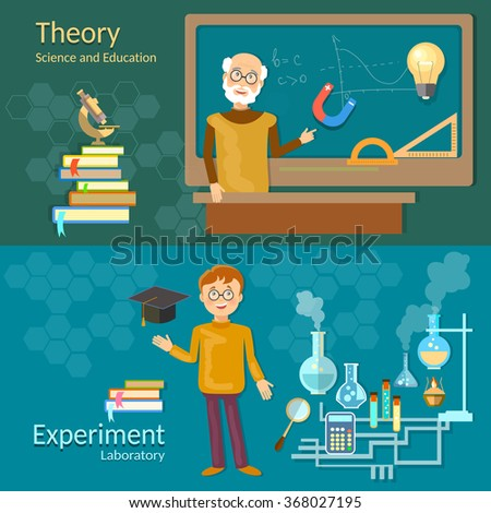 Science and education teachers school board schoolboy professor chemistry physics study laboratory experiments vector banners - stock vector