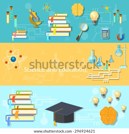 Science and education training brain manuals chemistry college university experiments thinking vector banners - stock vector