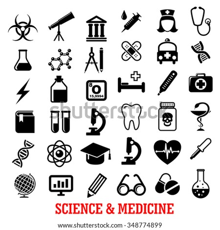 Science and medicine flat icons with ambulance hospital, test tube doctor microscope book pills dna, atom, flask, stethoscope, syringe, heart, cardiology, drugs, tooth, glass, globe and telescope - stock vector