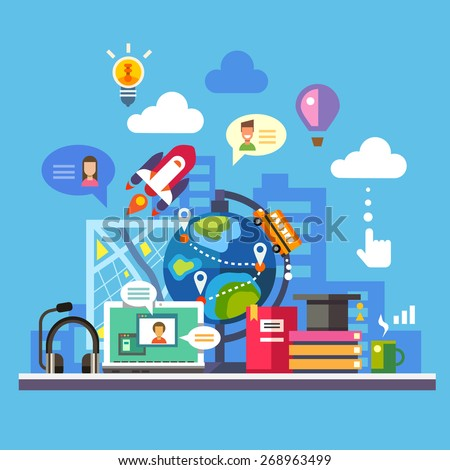 Science and modern technology. Online learning and reading. Imagination concept, social network. Globe, city silhouette, laptop, avatar, balloon, rocket, map, light bulb. Vector flat illustration - stock vector