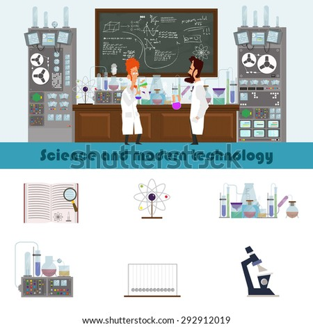 Science and modern technology. researchers conducted an experiment in the laboratory. Vector illustration in a flat style. - stock vector