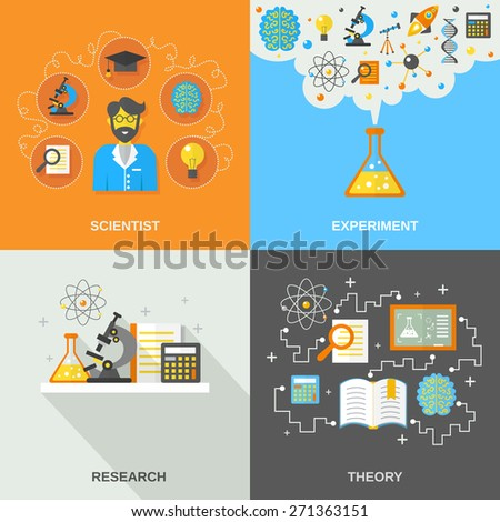 Science and research design concept set with scientist theory and experiment flat icons isolated vector illustration - stock vector