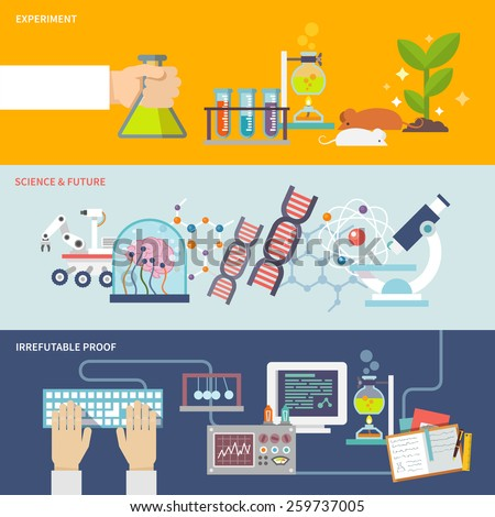 Science and research horizontal banner set with experiment irrefutable proof and future flat elements isolated vector illustration - stock vector