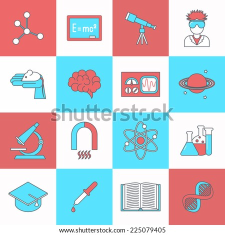 Science and research icon flat set with dna graduation hat book isolated vector illustration - stock vector