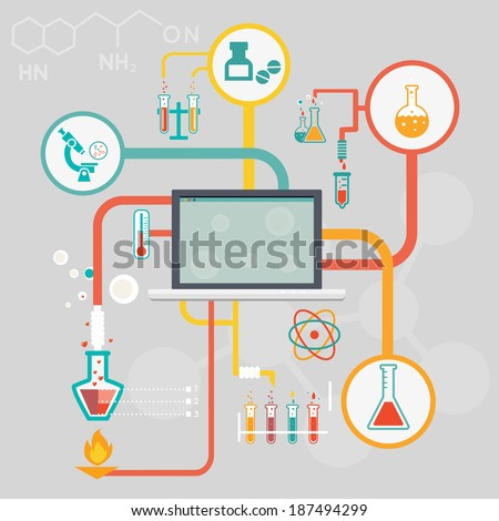 Science and research infographics with icons of different laboratory experiments in glassware and a microscope linked to a central computer screen depicting medical and industrial research - stock vector