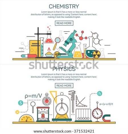 Science banner vector concepts in line style. Chemistry and Physics design elements, symbols and icons. Laboratory workspace and science equipment. Education background - stock vector