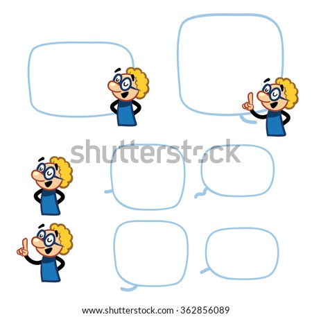 Science Character - set scientist poses with speech bubbles - stock vector