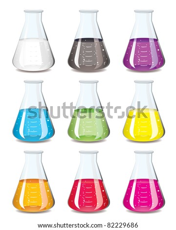 Science chemistry flask in a rainbow of colours - stock vector