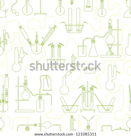 Science chemistry glass seamless background in green - stock vector