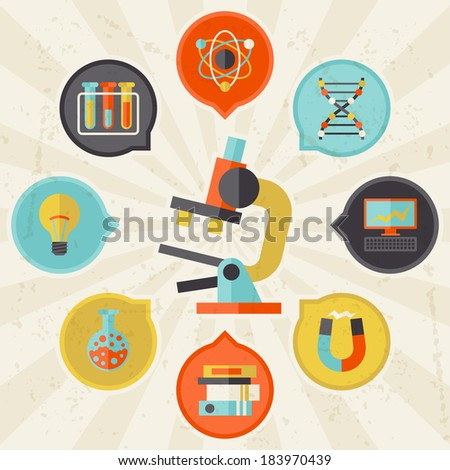 Science concept info graphic in flat design style. - stock vector