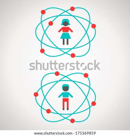 Science concept or idea. Vector illustration. Man and woman figures inside atoms.  - stock vector