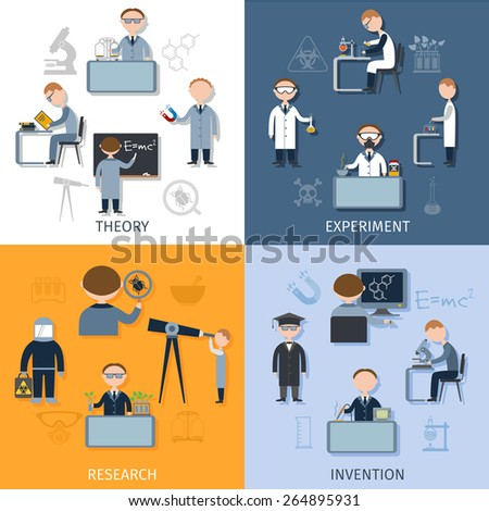 Science design concept set with theory experiment research invention flat icons isolated vector illustration - stock vector