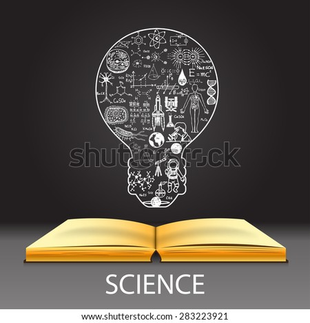 Science doodles in light bulb shape on open notebook. - stock vector