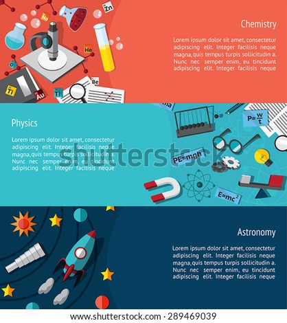 Science education info graphic banner template layout such as physics, chemistry and astronomy background website page design, create by vector - stock vector