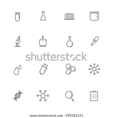 Science Equipment and Lab Icons - stock vector