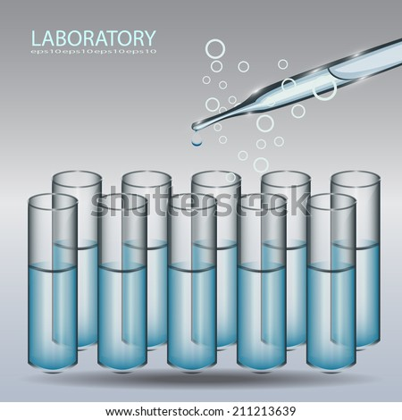 Science experiment, Dropper and test tube. vector illustration  - stock vector
