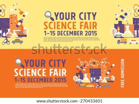 Science Fair poster concept - freehand drawing vector illustration - stock vector