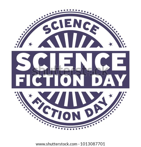 Science Fiction Day rubber stamp, vector Illustration