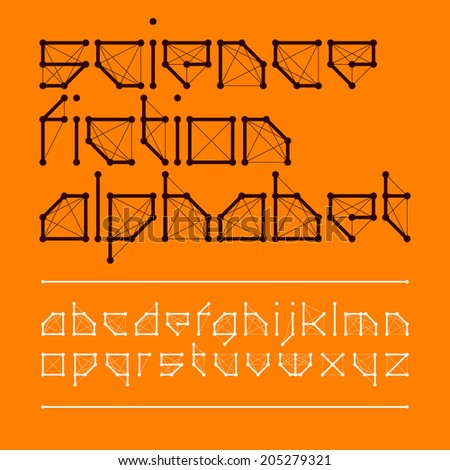 Science fiction font style. Vector. - stock vector